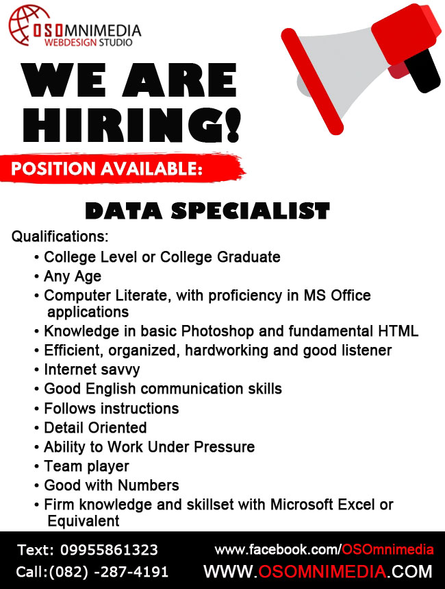 Davao City Career Opportunities Data Specialist Job Opening