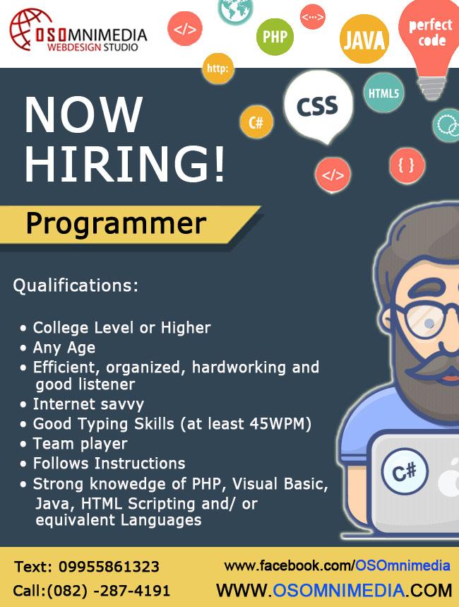 Job Opportunities in Davao City - Programmer