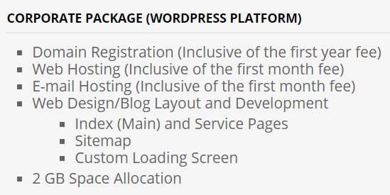 Davao City WordPress Package Price