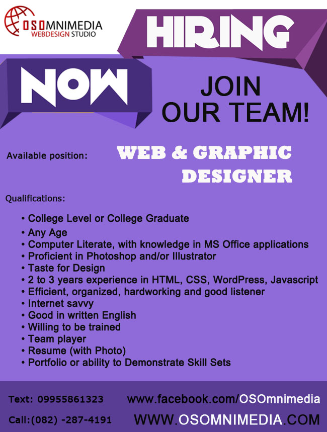 Job Opportunities in Davao City - Web and Graphic Designer