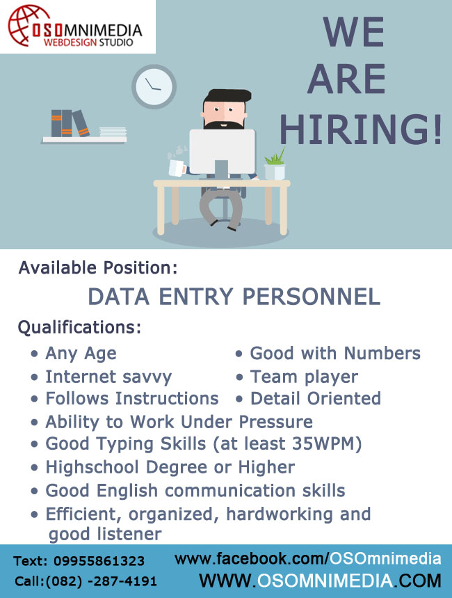 Job Opportunities in Davao City – Data Entry