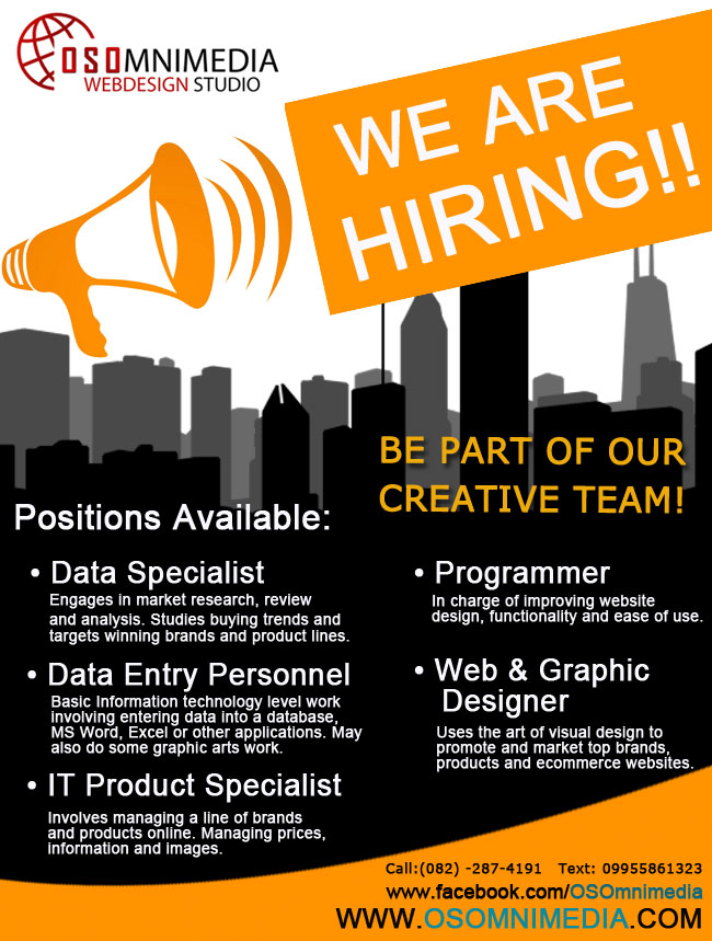Job Opportunities In Davao City, Philippines: Data Entry, Data Specialist, IT Product Specialist, Programmer and Web & Graphic Designer