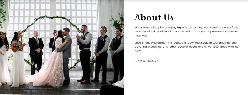 Love Snaps Wedding Photography Website About Us section