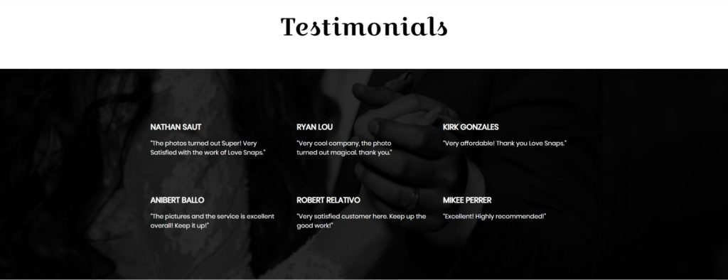 Love Snaps Wedding Photography Website Testimonials section