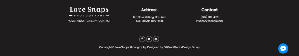 Love Snaps Wedding Photography Website Footer section